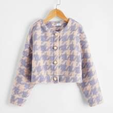 Girls Button Front Tweed Jacket