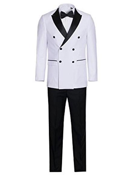 Mens White and Black Slim Fit Double breasted Tuxedo Flat Front Pants