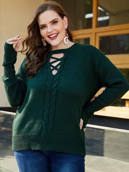 YOINS Plus Size Army Green Long Sleeves Sweater