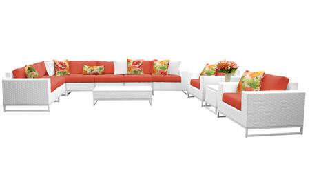 Miami MIAMI-11a-TANGERINE 11-Piece Wicker Patio Furniture Set 11a with 1 Corner Chair  4 Armless Chairs  1 End Table  1 Coffee Table  2 Club Chairs