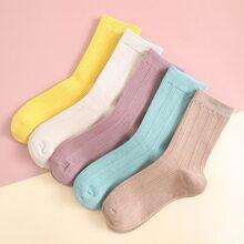 5pairs Solid Ribbed Socks