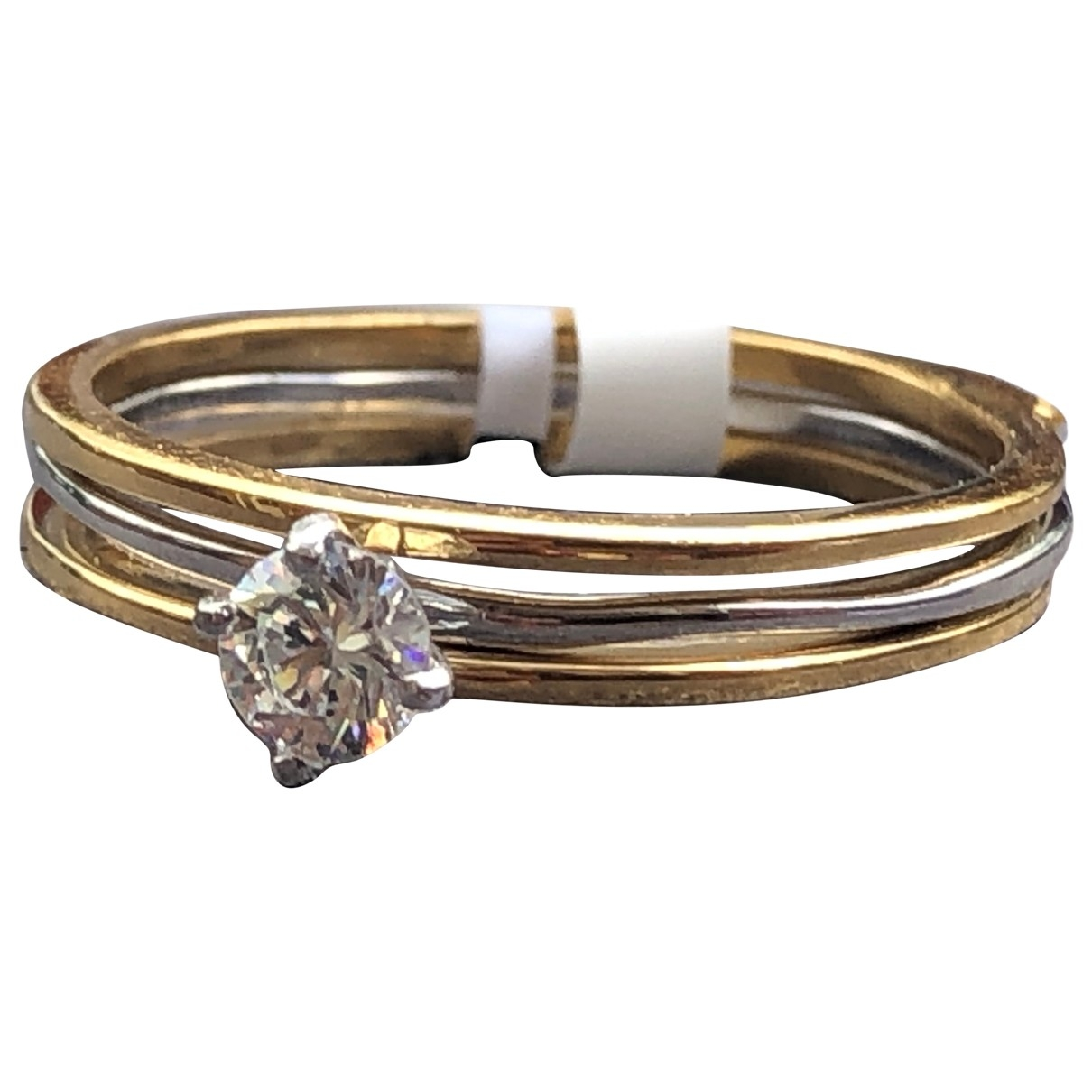 Non Signe / Unsigned Solitaire Ring in  Gold Vermeil