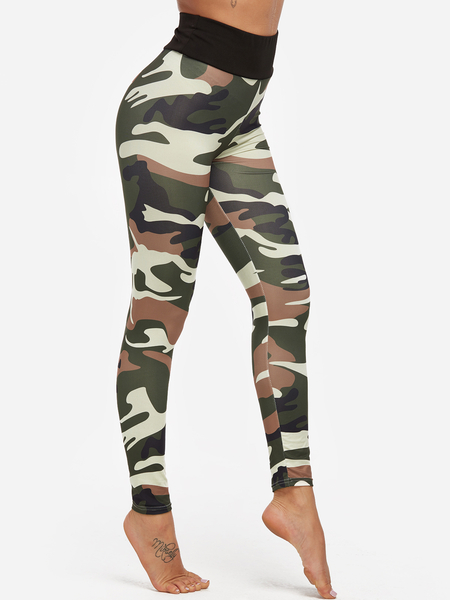Yoins Green Camouflage High-waisted Active Bottoms Yoga Pants