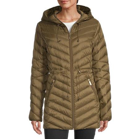 Liz Claiborne Down Packable Water Resistant Midweight Puffer Jacket, Medium , Green
