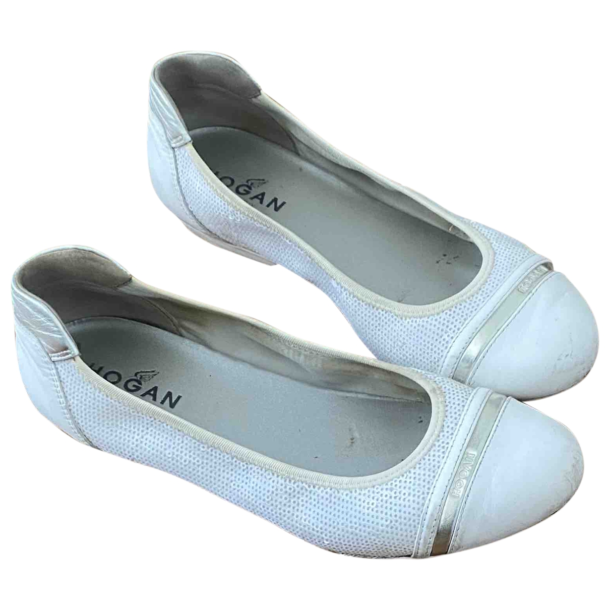 Hogan \N Ballerinas in  Weiss Leder