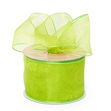 Lime Green Sheer Organza Wired Ribbon - 2-1/2 X 25yd - Organza Ribbon by Paper Mart