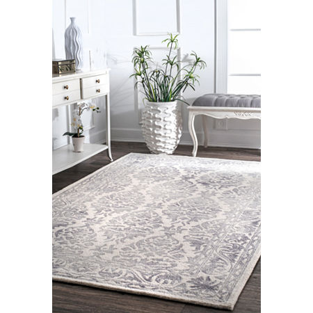 nuLoom Hand Looped Krause Rug, One Size , Gray