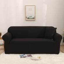 1pc Solid Stretchy Sofa Cover Without Cushion