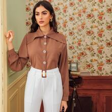 Button Front Patched Pocket Blouse