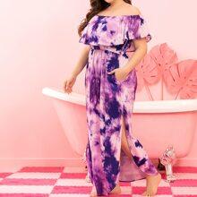Kleid mit Batik und Schlitz