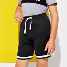 Boys Drawstring Waist Striped Hem Shorts