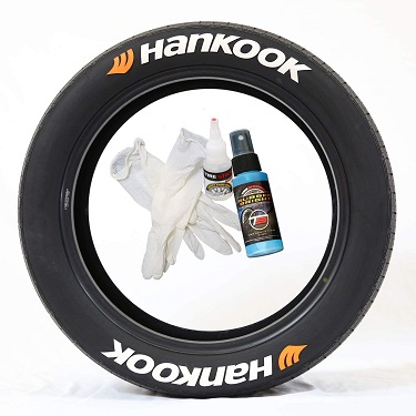 Tire Stickers HNKOOKO-1416-125-8-W Permanent Raised Rubber Lettering 'Hankook' with Orange Logo - 8 of each - 14