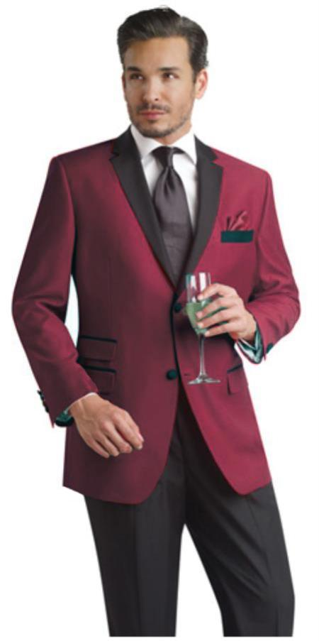 Burgundy 2 Button Party Suit and Tuxedo and Blazer w/Black Lapel
