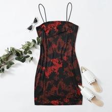 Figurbetontes Kleid mit Drache Muster