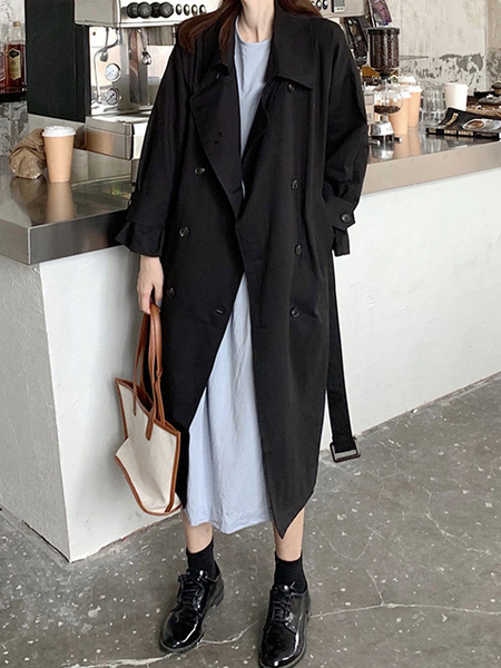 Milanoo Woman Coat Turndown Collar Lace Up Casual Oversized Black Polyester Maxi Coat