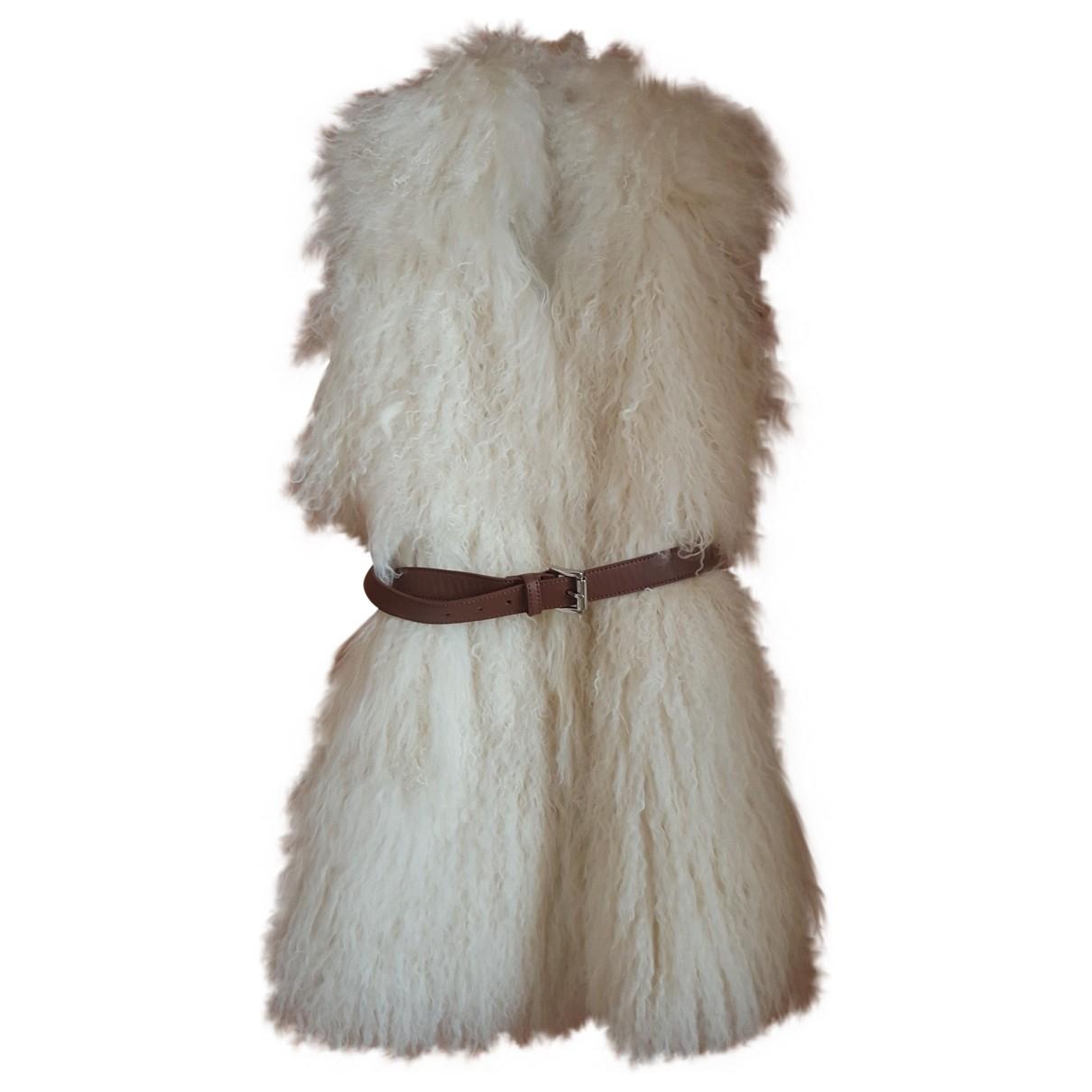 - Manteau   pour femme en agneau de mongolie - ecru