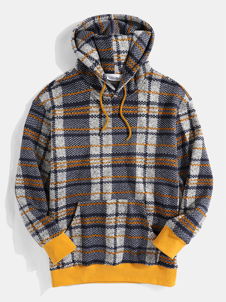Mens Line Desige Kangaroo Pocket Casual Drawstring Hoodies