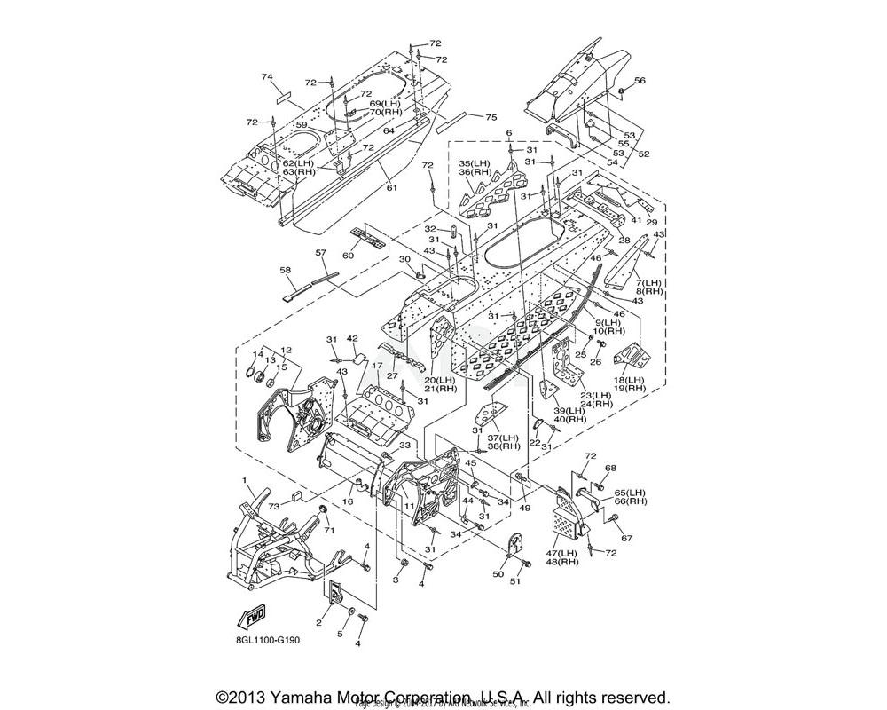 Yamaha OEM 8HB-21937-00-00 REINFORCEMENT, RR. FOOTREST 2