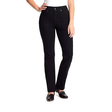 Gloria Vanderbilt Revolution Solution Womens High Rise Straight Leg Jean, 8 , Black