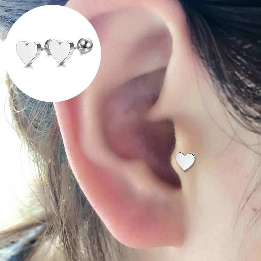 Punk 1 Pc of Ear Stud Bones Piercing Earrings Sweet Heart Shape Earring Gift for Girls Women