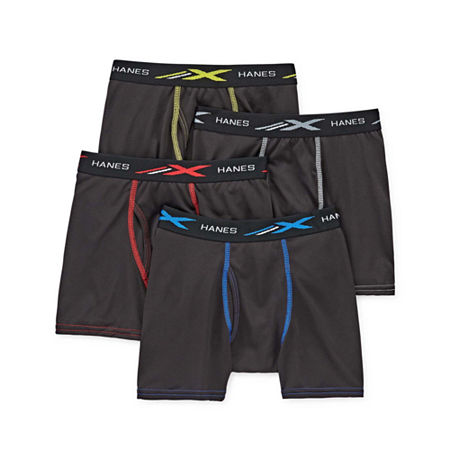 Hanes Little & Big Boys 4 Pack Boxer Briefs, Large , Black
