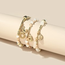 3pcs Moon & Lock Charm Beaded Bracelet