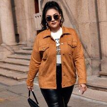 Einfarbige Jacke mit Taschen Klappe und Wildleder
