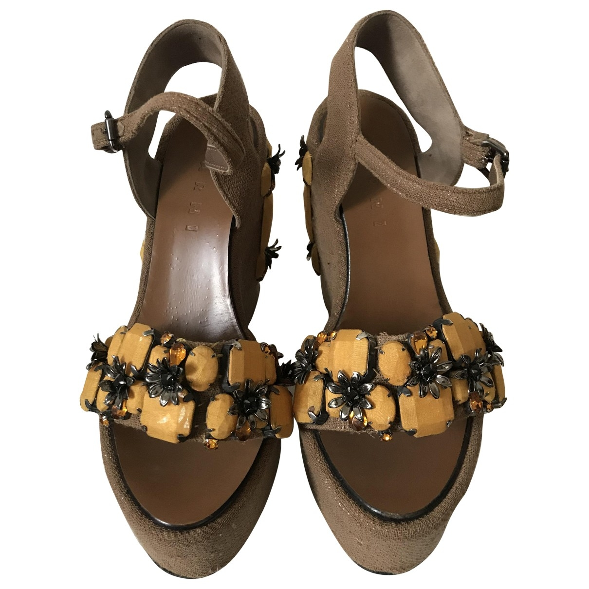 Marni - Sandales   pour femme en toile - kaki