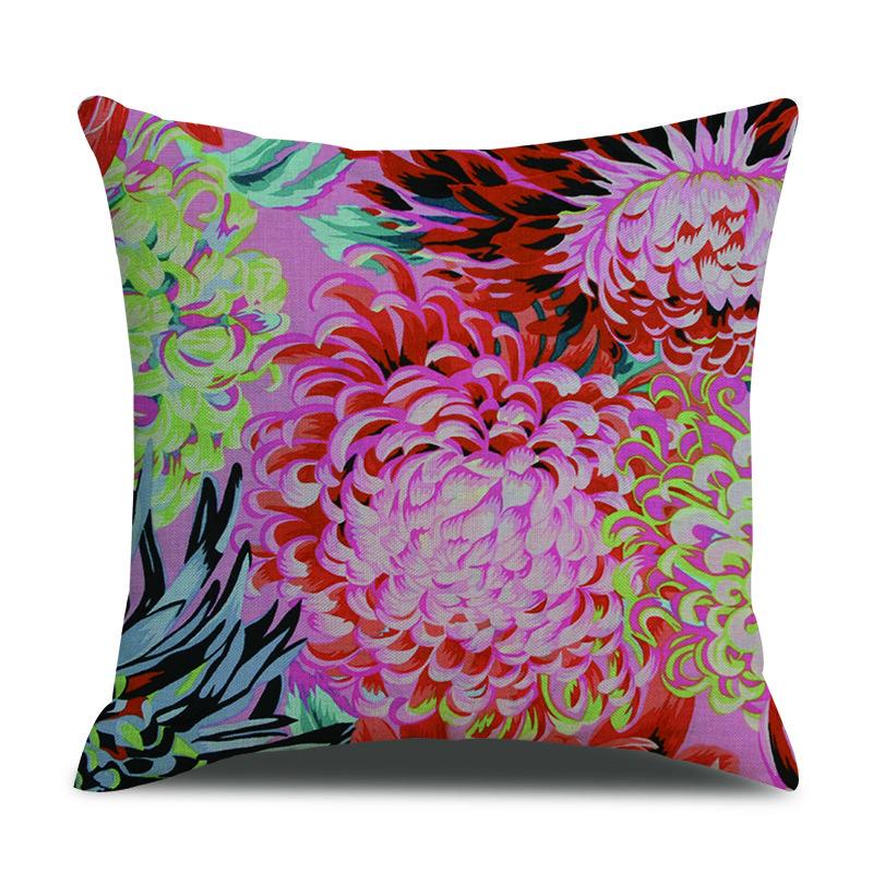 Vintage Floral Flower Print Linen Cushion Cover Home Sofa Office Waist Throw Pillowcases Art Dec