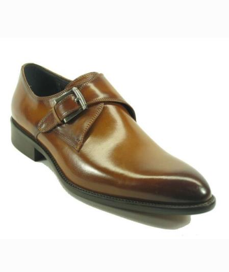 Men's Fashionable Cognac Slip On Buckle Style Shoes