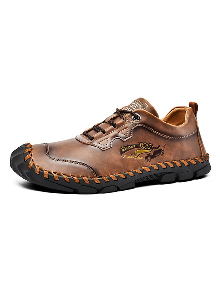 Milanoo Brown Mens Sneakers 2020 Cozy PU Leather Round Toe Casual Shoes