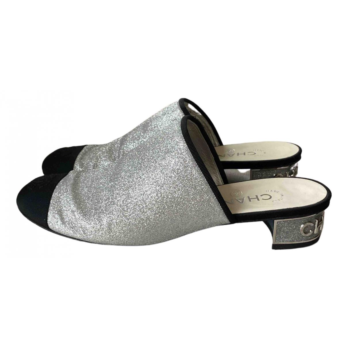 Chanel N Silver Glitter Mules & Clogs for Women 38.5 EU