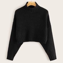 Schwarz Einfarbiger laessiger Pullover