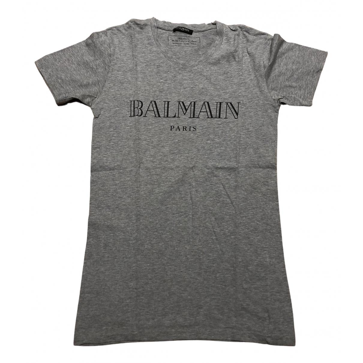 Balmain N Grey Cotton T-shirts for Men XS International