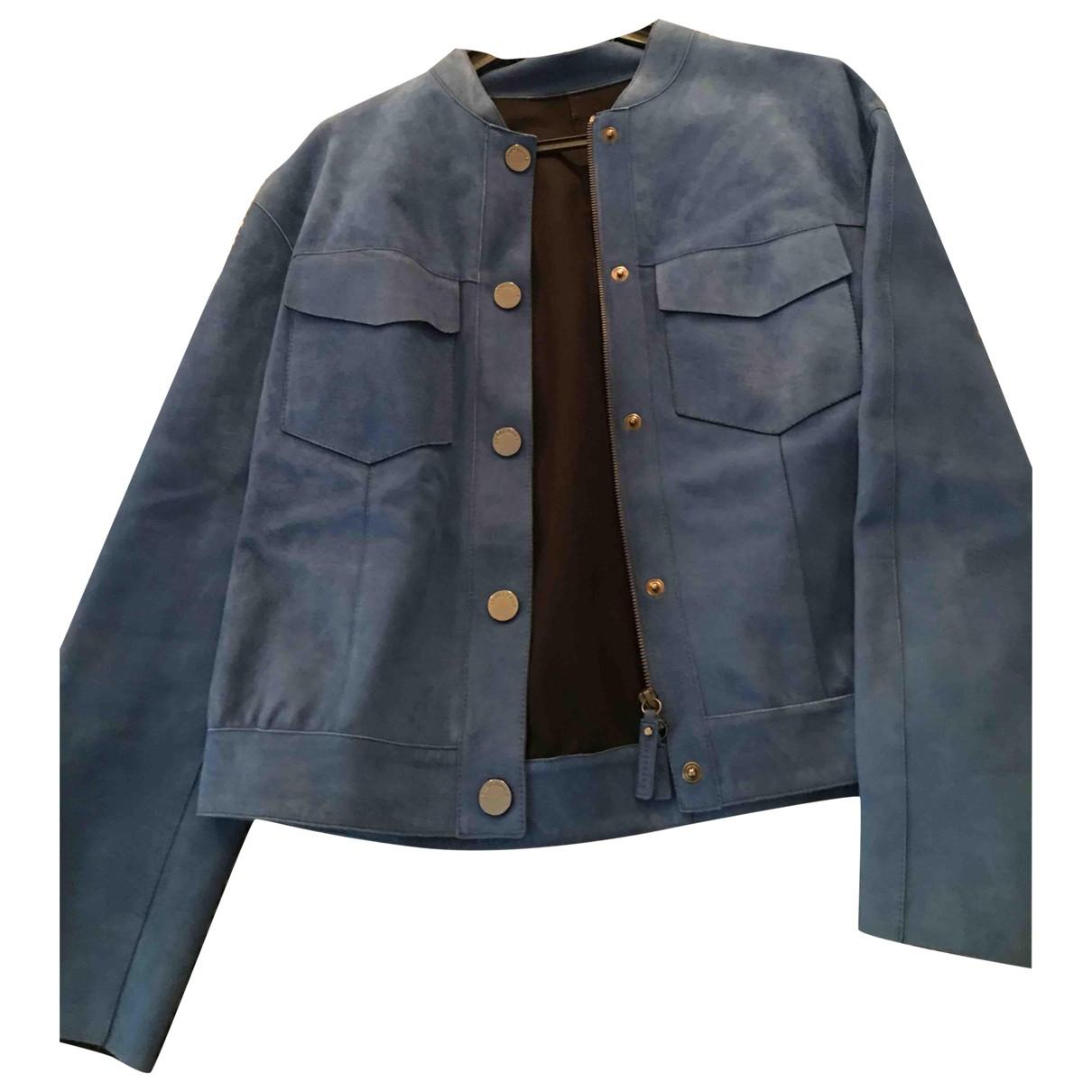 Longchamp - Blouson   pour femme en suede - bleu