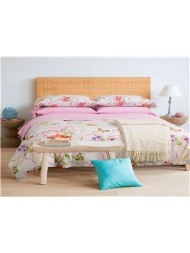 Ultra Soft and Easy Care Colorful Flower Cotton Pink 4-Piece Bedding Sets/Duvet Cover