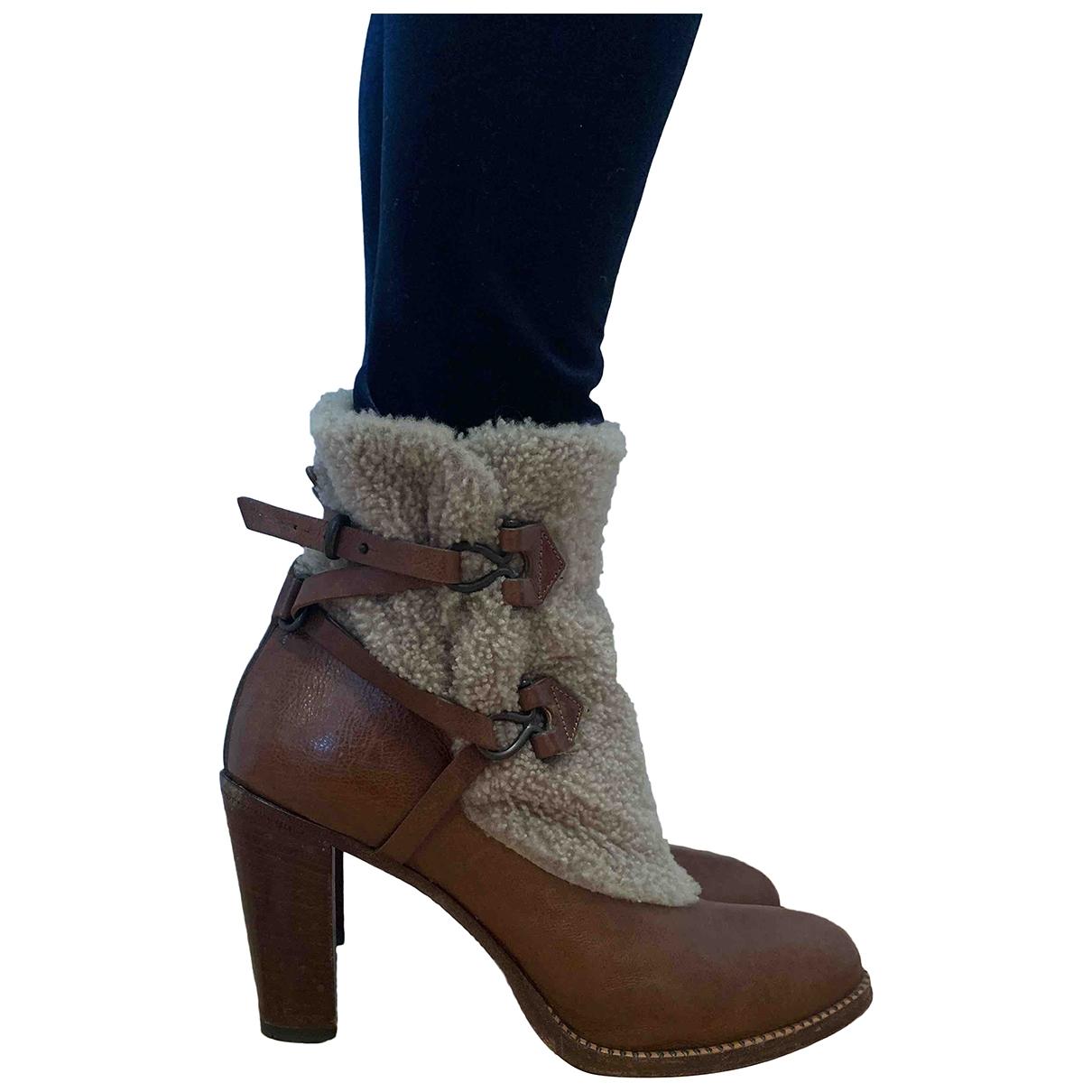 Sartore - Boots   pour femme en cuir - marron