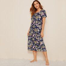 Floral & Leaf Print Night Dress