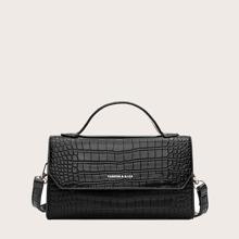 Bolso cartera con solapa con diseño de cocodrilo