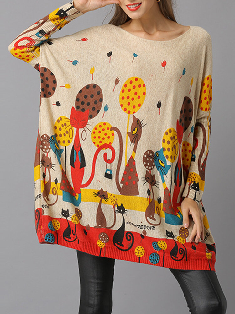 Vintage Loose Neck Batwing Sleeve Sweaters For Women