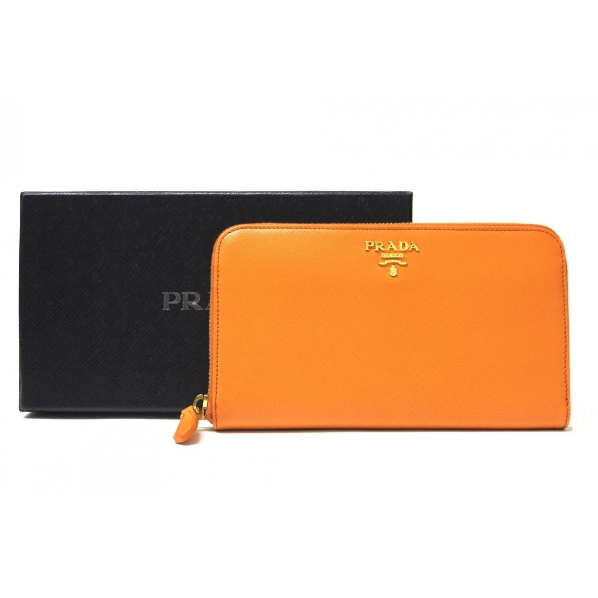 Prada \N Orange Leather wallet for Women \N