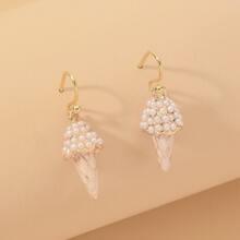 Faux Pearl Decor Ice-cream Drop Earrings