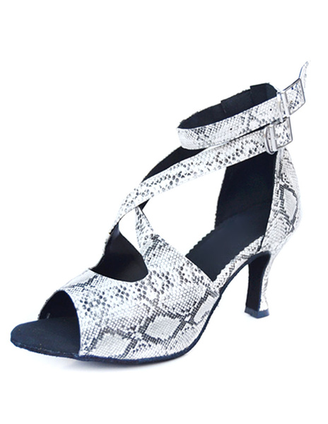 Milanoo Latin Dance Sandals Snake Print Ballroom Heels for Women