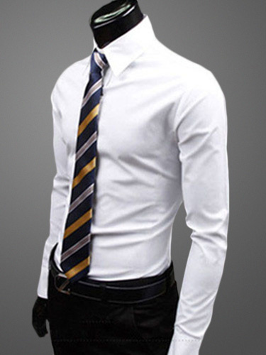 Milanoo Cotton Blend Daily Dress Shirtwith Turndown Collar Long Sleeves