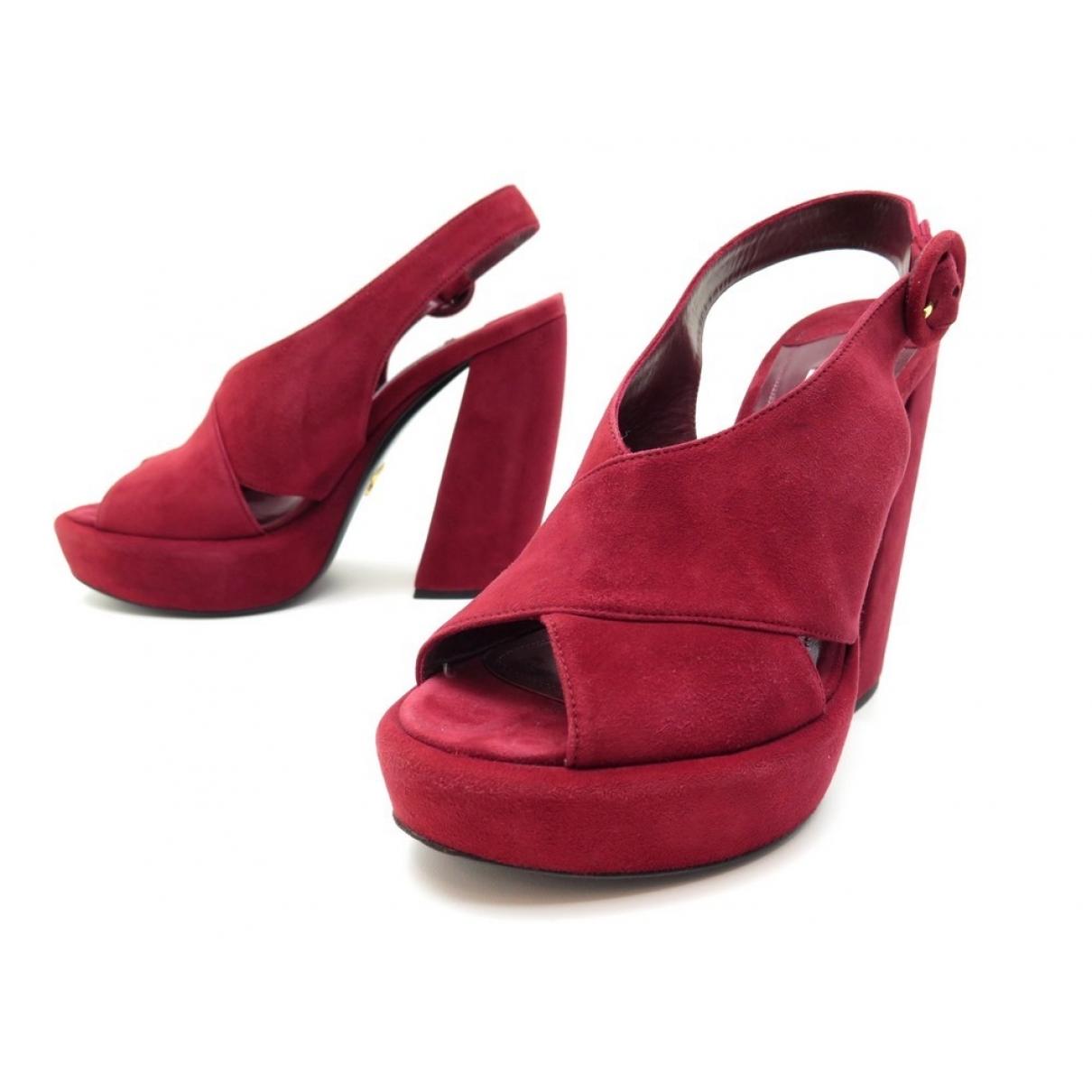 Prada \N Red Suede Sandals for Women 37 IT