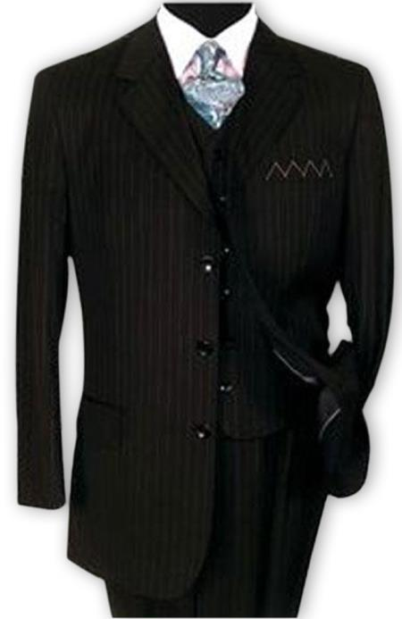 3 Button Vested Suits 1 Wool Suits Vested Black Stripe Pleated Pants