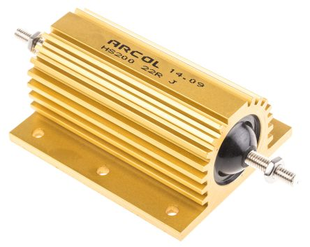 Arcol HS200 Series Aluminium Housed Axial Wire Wound Panel Mount Resistor, 22Ω ±5% 200W