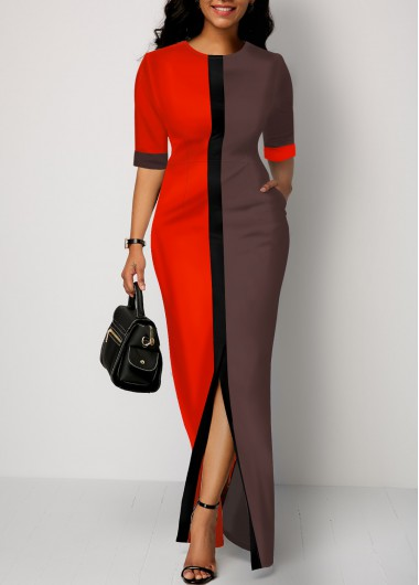 Women'S Color Block Half Sleeve Slit Front Maxi Casual Dress Grey And Red Sheath Round Neck Dress By Rosewe - M