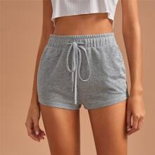 Drawstring Waist Solid Sleep Shorts