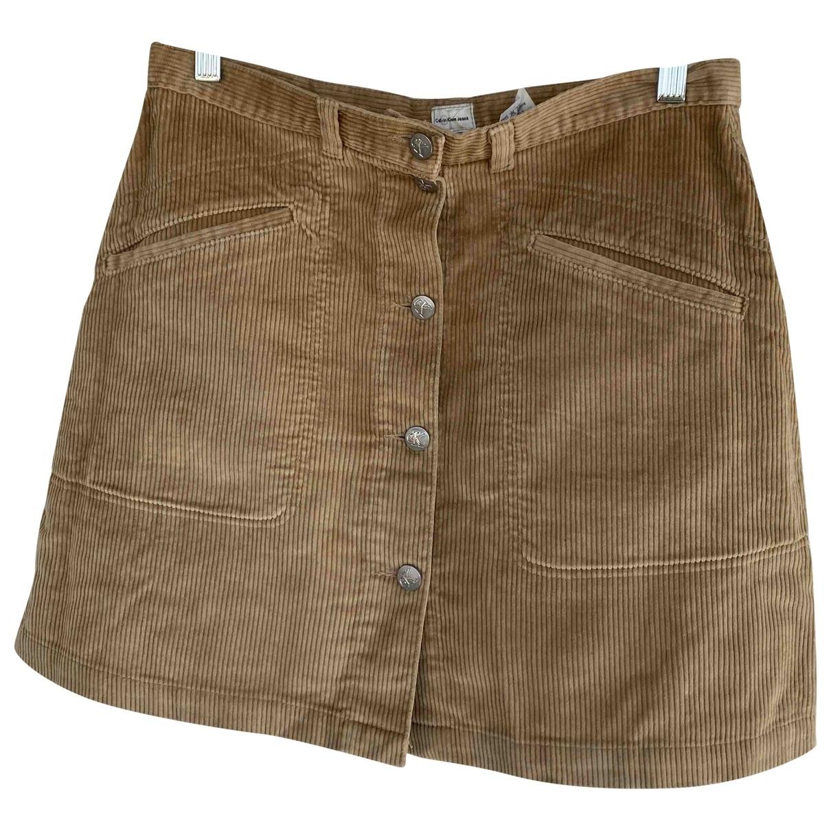 Calvin Klein \N Beige Cotton skirt for Women 12 UK